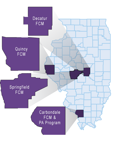 State Map of Illinois showing FCM and PA locations