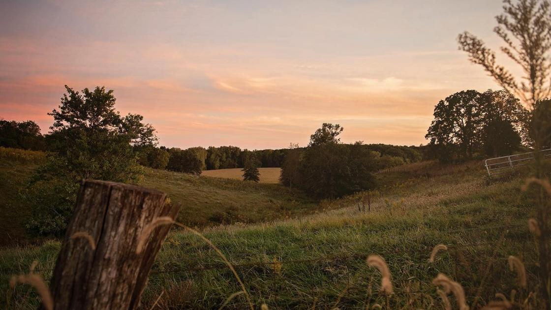 Rural Field with Sunset