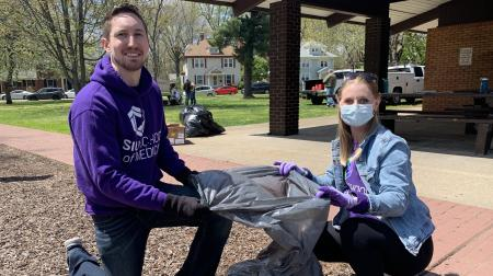 Medical Students Cleaning Up Leaves