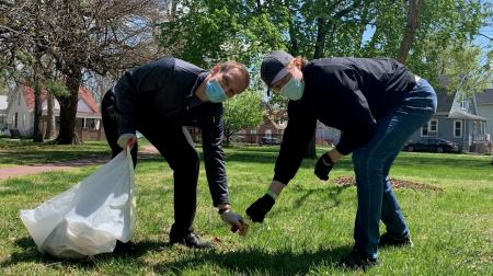 Students Picking Up Trash at Student Day of Service