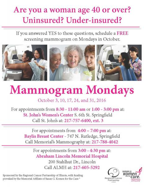 Mammogram Mondays Return in October for Uninsured Women